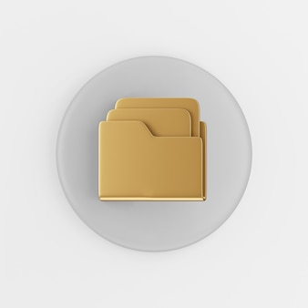 Gold folder icon with documents in flat style. 3d rendering gray round button key, interface ui ux element.