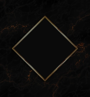 Gold frame on a black texture background