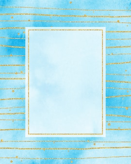 Gold frame & blue watercolor background