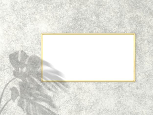 구체적인 배경 3d 렌더링에 사진 또는 그림을위한 골드 프레임
