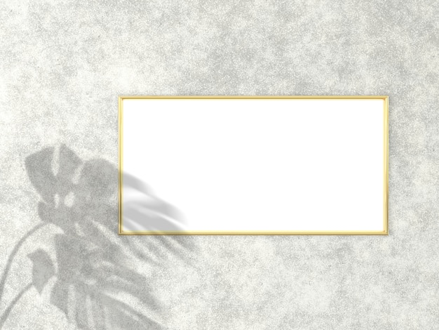 Gold frame for photo or picture on concrete background 3d rendering