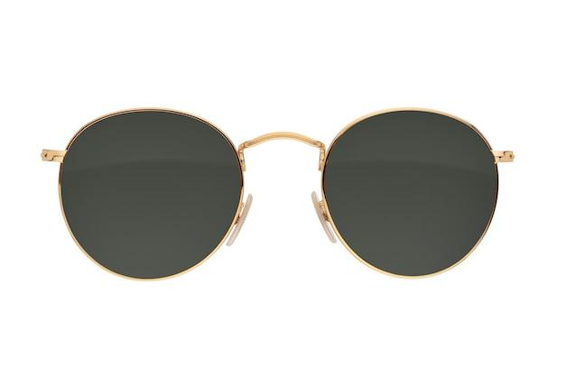 Золотая рамка круглые черные солнцезащитные очки изолированные
