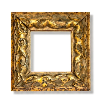 Gold frame on white surface