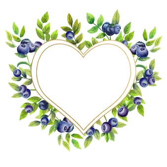 Gold frame with watercolor blueberries in the shape of a heart