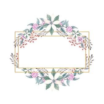 Золотая рамка с акварельными цветами пуансеттии, ягодами и декоративными веточками