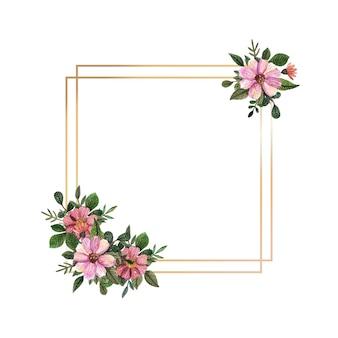 Золотая рамка с акварелью прессованные и засушенные цветы на белом фоне