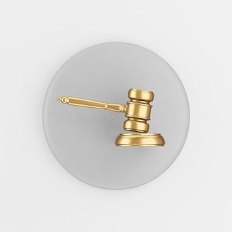 골드 망치 판사 아이콘입니다. 3d 렌더링 라운드 회색 키 버튼, 인터페이스 ui ux 요소.