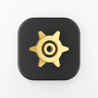 Золотая шестеренка значок в мультяшном стиле. 3d-рендеринг черный квадратный ключ кнопки, элемент интерфейса ui ux.