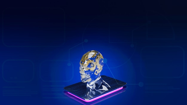 The gold gear inside human crystal  head  for ai or machine learning  for technology  concept 3d rendering