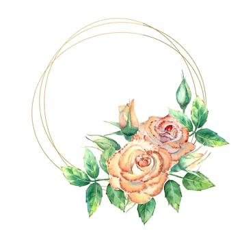 Золотая геометрическая рамка, украшенная цветами. персиковые розы, зеленые листья, открытые и закрытые цветы. акварельная иллюстрация.