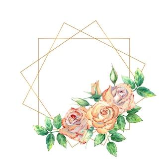 꽃으로 장식된 골드 기하학적 프레임입니다. 복숭아 장미, 녹색 잎, 열리고 닫힌 꽃. 수채화 그림입니다.