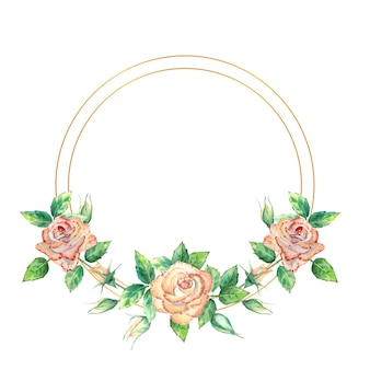 Gold geometric frame decorated with flowers. peach roses, green leaves, open and closed flowers. watercolor illustration.