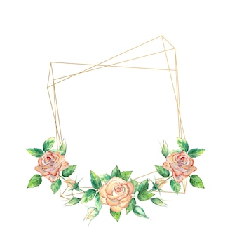 Gold geometric frame decorated with flowers. peach roses, green leaves, open and closed flowers. watercolor illustration