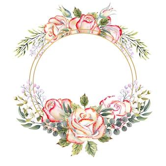 白い孤立した背景に葉、装飾的な小枝とベリーと白いバラの花束とゴールドの幾何学的なフレーム。ロゴ、招待状、グリーティングカードなどの水彩イラスト。