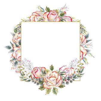흰색 격리된 배경에 잎, 장식용 나뭇가지, 열매가 있는 흰색 장미 꽃다발이 있는 금색 기하학적 프레임. 로고, 초대장, 인사말 카드 등을 위한 수채화 그림