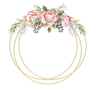 Золотая геометрическая рамка с букетом белых роз с листьями, декоративными веточками и ягодами на белом изолированном фоне. акварельные иллюстрации для логотипов, приглашений, поздравительных открыток и т. д.