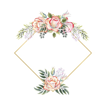 Gold geometric frame with a bouquet of white roses with leaves, decorative twigs and berries on a white isolated background. watercolor illustration for logos, invitations, greeting cards, etc.