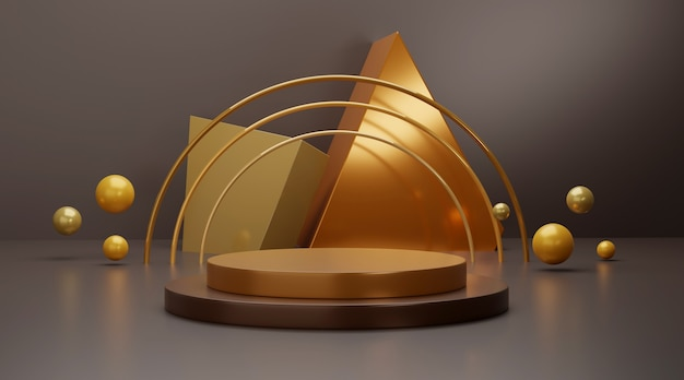 Gold geometric podium scene for product display.