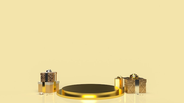 The gold geometry podium shape for display product and gift box for present concept 3d rendering