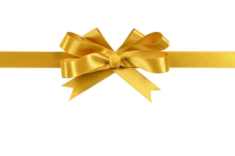 Gold gift ribbon bow isolated on white background
