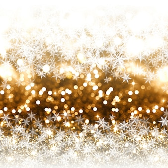 Gold glitter christmas background with snowflakes