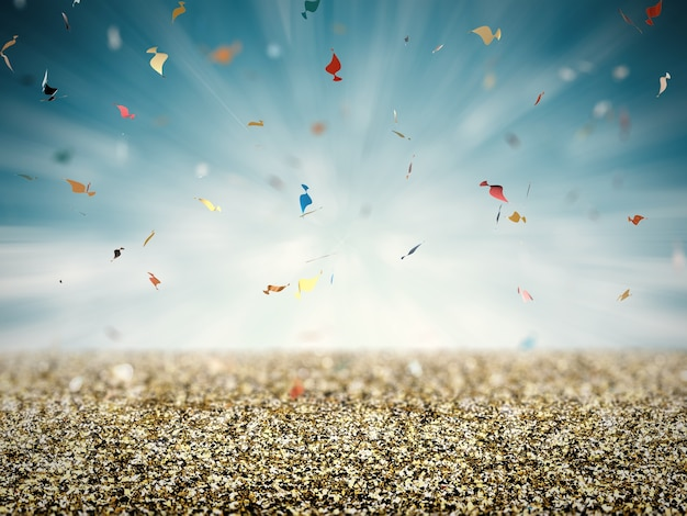 Gold glitter floor with confetti on blue background