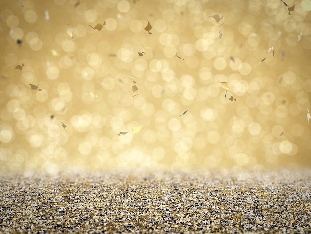 Gold glitter floor with confetti on gold background