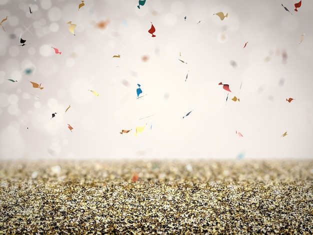 Gold glitter floor with confetti on grey background