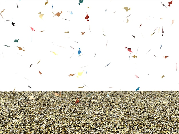 Gold glitter floor with confetti on white background