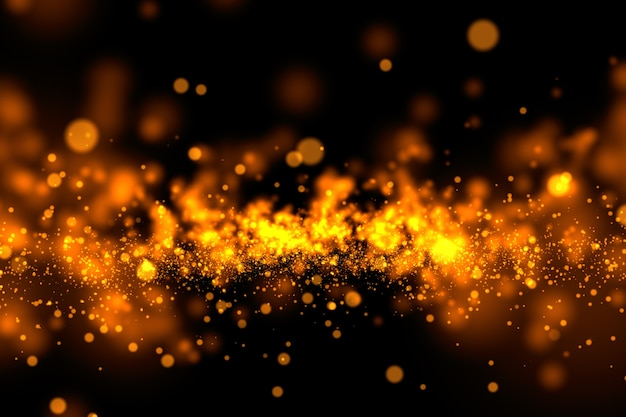 Gold glitter powder splash background.