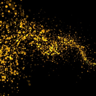 Gold glittering bokeh stars dust tail