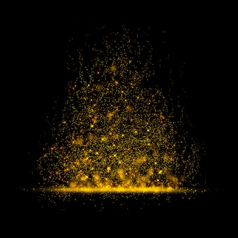 Gold glittering star magic dust on background.