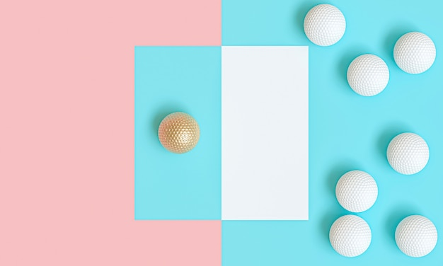 Gold golf ball among many white, 3d image render in flat lay style.