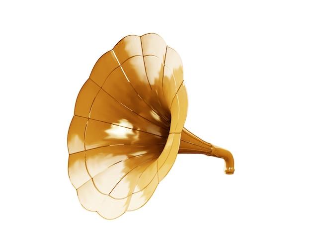 Золотой граммофон на белом фоне. 3d иллюстрации