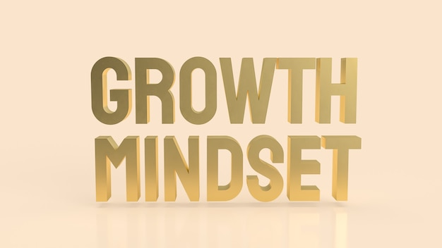 The  gold growth mindset word on cream color background 3d rendering