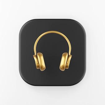 골드 헤드폰 아이콘입니다. 3d 렌더링 검은색 사각형 키 버튼, 인터페이스 ui ux 요소.