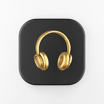 Золотой значок наушников. 3d-рендеринг черной квадратной ключевой кнопки, элемента интерфейса ui ux.