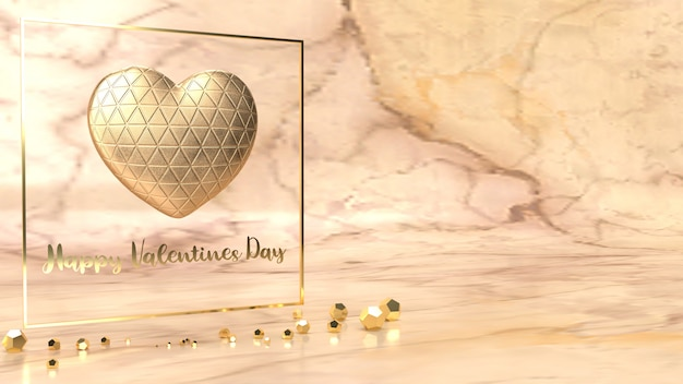 Gold  heart and gold fram 3d rendering for valentine's day content.