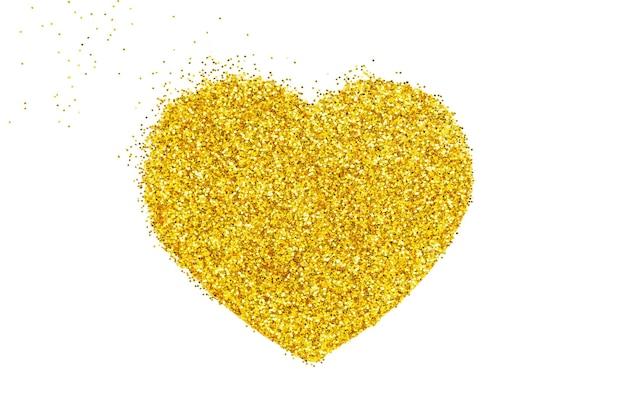ゴールドハート。粒状のドットモザイク。ゴールドラメのハート。