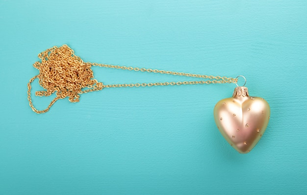 Gold heart with gold chain