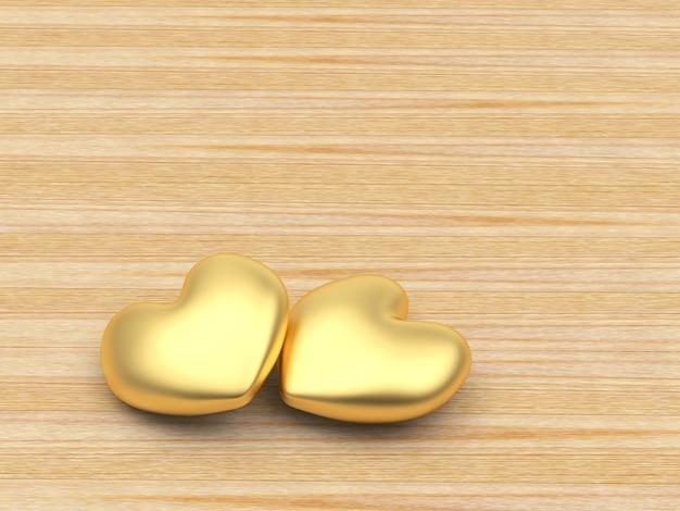 Золотые сердца с пространством для текста на деревянном