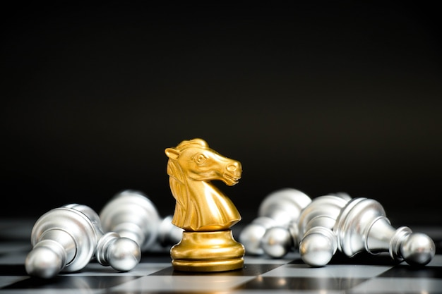 Gold horse in chess game