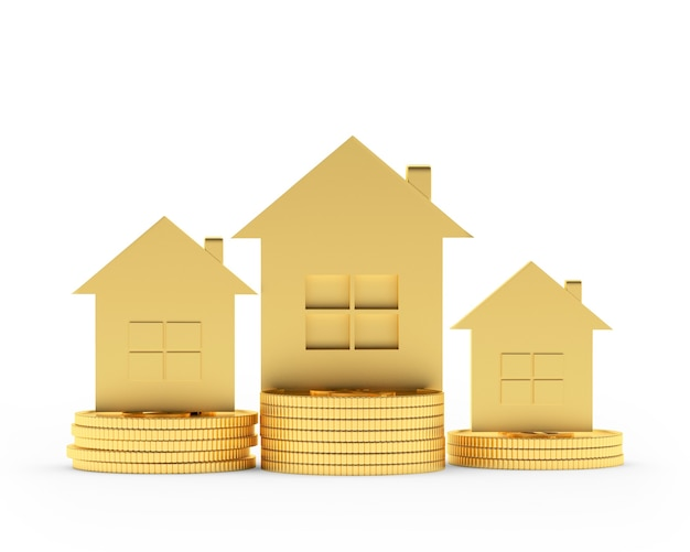 Gold houses on coins