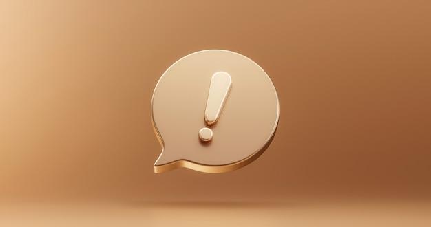 Золотой важный восклицательный знак значок или внимание осторожно знак иллюстрации графический элемент символ на золотом фоне с концепцией дизайна кнопки сообщения об ошибке обновления проблемы. 3d-рендеринг.