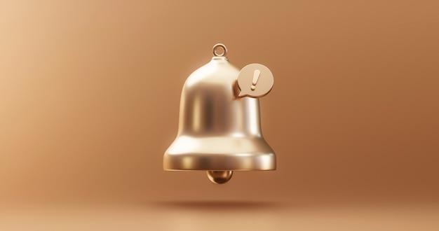 Значок сигнала тревоги колокольчика уведомления о важном обновлении золота или получение смс-знака внимания по электронной почте и иллюстрации интернет-сообщения на золотом фоне с элементом символа веб-коммуникации. 3d-рендеринг.