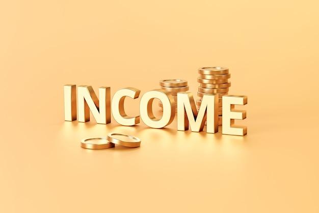 금융 경제와 황금 배경에 금 소득 기호 및 투자 개념. 3d 렌더링.