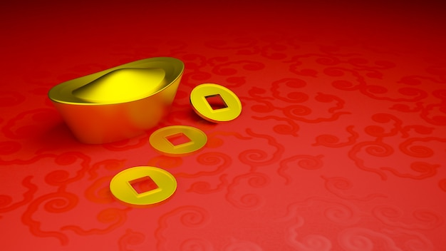 Gold ingot and coin of china in the chinese new year