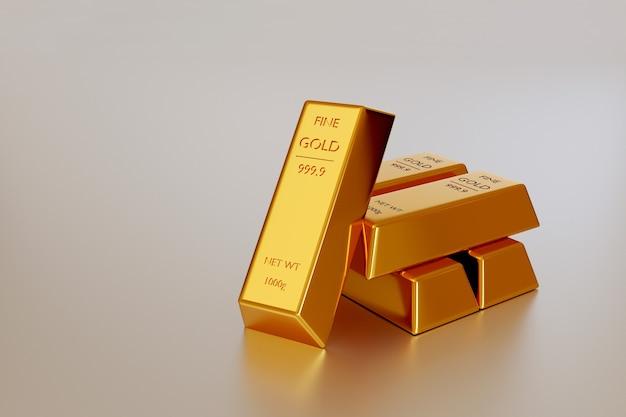 Золотой слиток или стек золотых слитков, 3d визуализация.