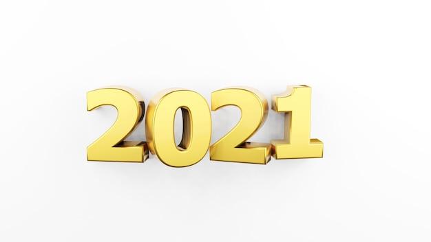白い背景で隔離の金の碑文2021。明けましておめでとうございます2021年。広告のイラスト。 3dレンダリング。