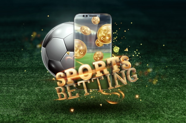Gold inscription sports betting on a smartphone on a background of green grass.